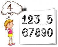 Zeichnung: Mädchen vor Zahlen - 1, 2, 3, 4...