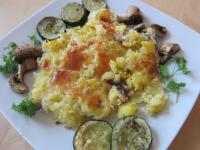 Kartoffel-Sardinen-Auflauf mit Ofen-Zucchini und Champignons