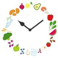Uhr mit frischen Lebensmitteln statt der Zahlen (Fotolia)