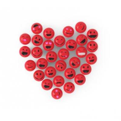 Bild von einem Herz aus vielen kleinen, roten Smileys