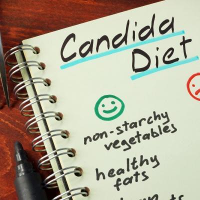 """Bild eines Notizbuches mit der Aufschrift """"Candida Diet"""" und einigen Empfehlungen, z.B. non-starchy vegetables, healthy fats"""