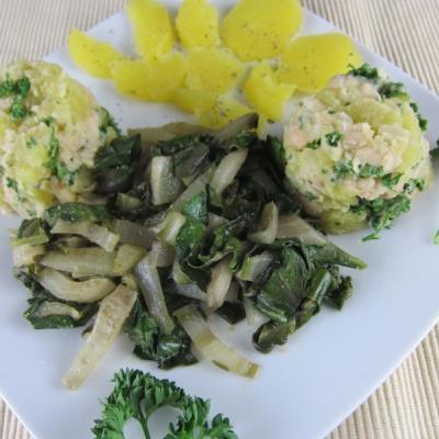 Bohnen-Kartoffel-Stampf mit Mangold und Petersilie