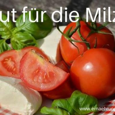 Foto von Tomaten mit Mozzarella. Gut für die Milz?