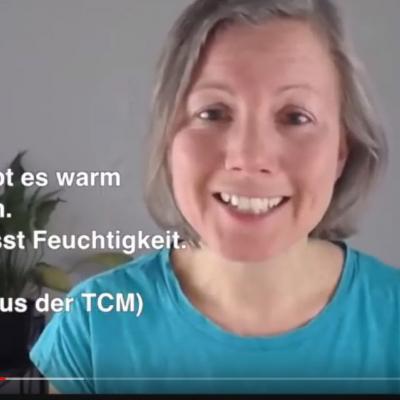 Ausschnitt aus dem Video mit Katharina zum Milz-Qi. Text: Die Milz liebt es warm und trocken. Und sie hasst Feuchtigkeit. (Merksatz aus der TCM)