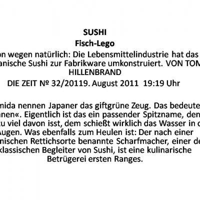 """Sushi - Ausschnitt aus Artikel der """"Zeit"""" über Sushi als Fertigprodukt"""